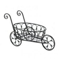 3-Wheel Black Iron Flower Cart