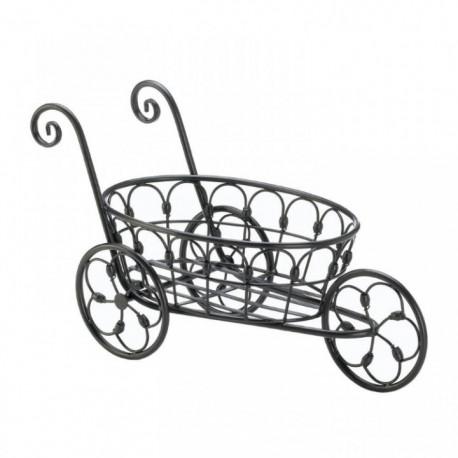 3-Wheel Black Iron Flower Cart