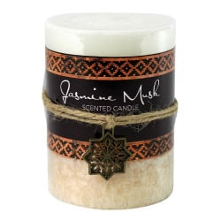 Jasmine Musk Scented Moroccan Pillar Candle 3X4