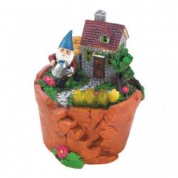 Gnome at Home Flower Pot Solar Garden Light