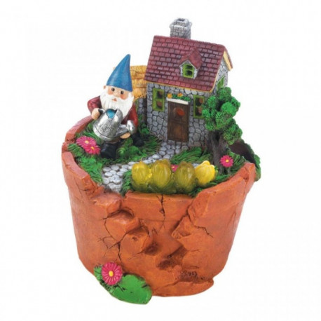 Gnome at Home Flower Pot Solar Garden Light