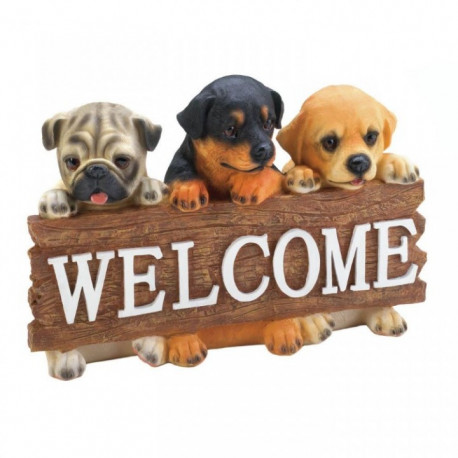 Cute Puppies Welcome Plaque