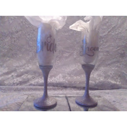 2pc. Silver Glittered Wedding Glasses Set