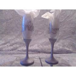 2pc. Silver Glittered Wedding Glasses Set