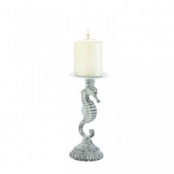 Distressed-Look Metal Seahorse Candle Holder - 8 inches