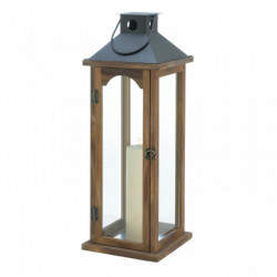 Wood Candle Lantern with Metal Pyramid Top - 22 inches