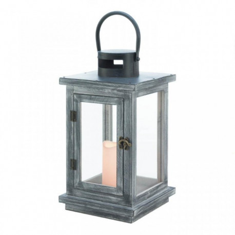 Distressed Gray Wood Candle Lantern with LED Candle - 18 inches
