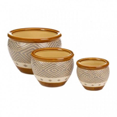 Earth-Tone Trim 3PC Ceramic Planter Pot Set