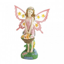 Pink Fairy Garden Decor Solar Statue