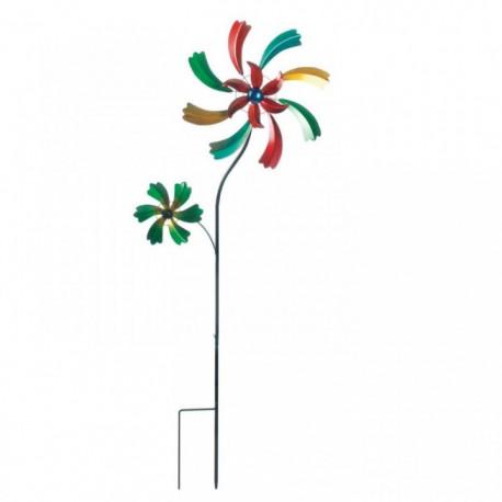 4-Foot Colorful Wildflower Garden Spinner Windmill