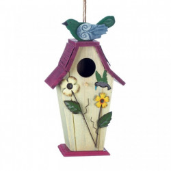 Country Flowers Wood Bird House with Hummingbird