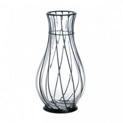 Glass Vase with Swirled Metal Framework