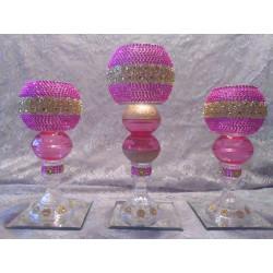 3pc. Pink & Gold Bling Candleholder Set