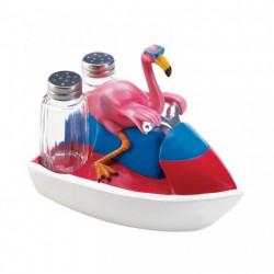 Flamingo on a Jet Ski Salt & Pepper Shaker Set