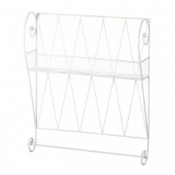 Scrolled White Wire Wall Shelf