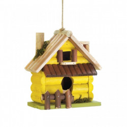 Yellow Log Cabin Wood Bird House