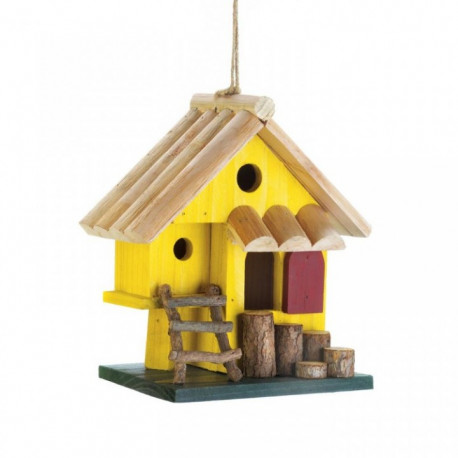 Bright Yellow Multi-Level Bird House