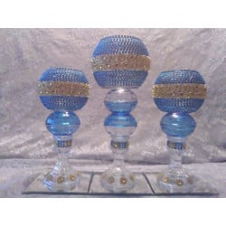 3pc. Light Blue & Gold Bling Candleholder Set