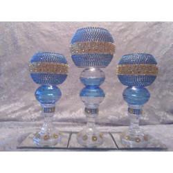 3pc. Light Blue & Gold Bling Candleholder Set