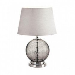 Gray Cracked-Glass Sphere Table Lamp