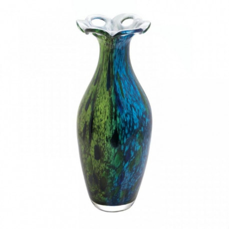 Peacock-Inspired Blooming Art Glass Vase