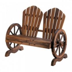 Wagon Wheel Slat-Back Garden Bench