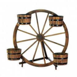 Wagon Wheel Rustic 4-Barrel Planter