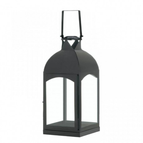 Black Domed Arch-Side Candle Lantern - 17 inches