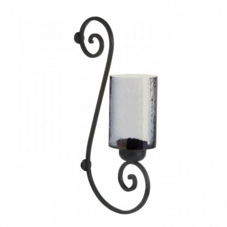 Scrollwork Smoked Glass Candle Wall Sconce