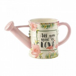All You Need is Love Pink Flamingo Watering Can Planter