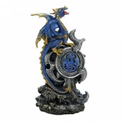 Blue Dragon Figurine with Light-Up Medallion