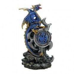 Blue Dragon Figurine with Light-Up Medallion
