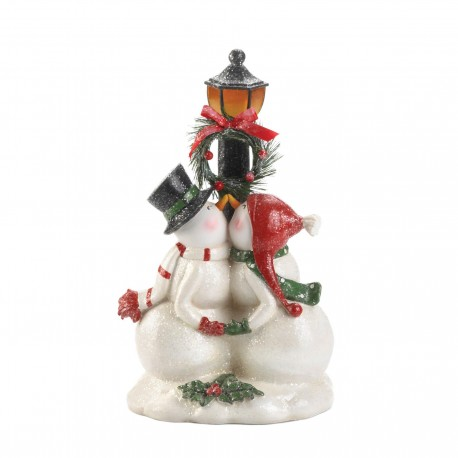 Kissing Snowmen Light-Up Light Post Figurine