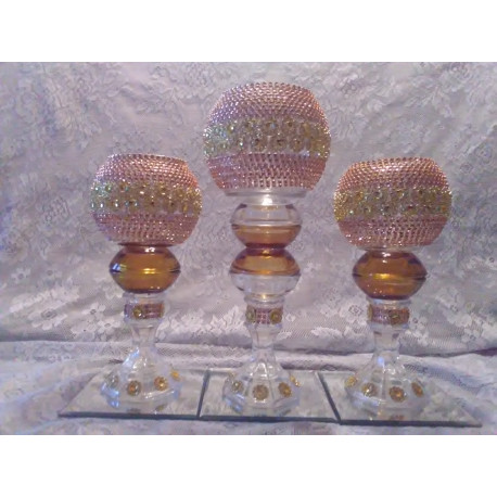 3pc. Autumn & Gold Bling Candleholder set