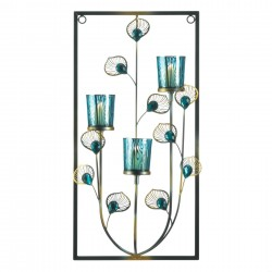 Peacock Feather Three Candle Wall Sconce