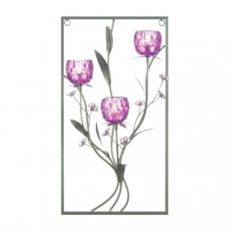 Magenta Flower Three Candle Wall Sconce