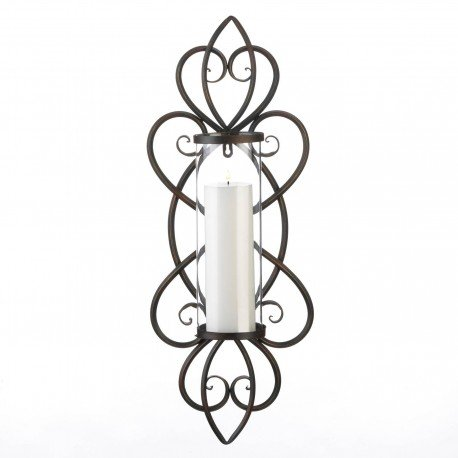 Heart Theme Pillar Candle Wall Sconce