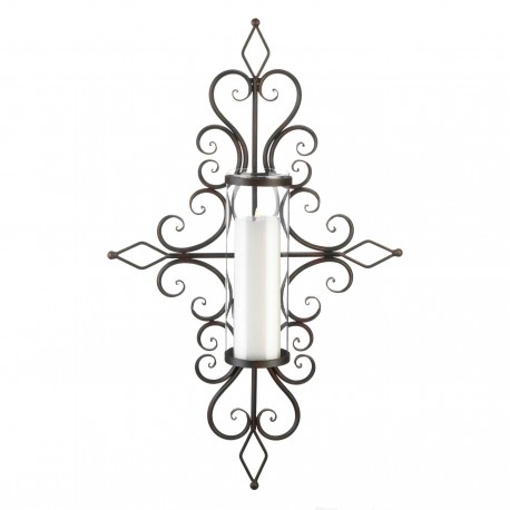 Flourished Pillar Candle Wall Sconce