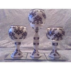 3pc. Black & White Candleholder Set