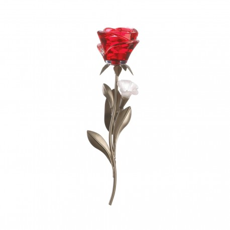 Single Red Rose Candle Wall Sconce