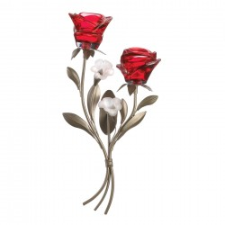 Double Red Rose Candle Wall Sconce