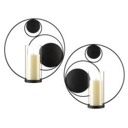 Set of 2 Circular Wall Candle Sconces