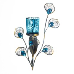 Peacock-Inspired Candle Sconce