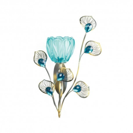 Peacock Blossom Single Candle Sconce