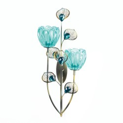 Peacock Blossom Double Candle Sconce