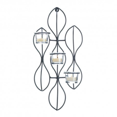 Abstract Iron Triple Candle Wall Sconce