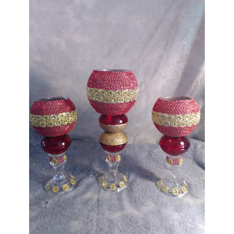 3pc. Red & Gold Bling Candleholder Set