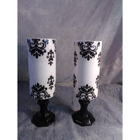 2pc. Black & White Candleholder Set