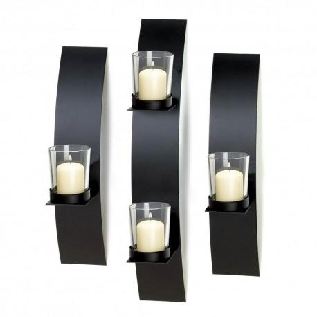 Sleek Black Curved Iron Wall Sconce Set