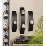 Sleek Black Curved Iron Wall Sconce Set